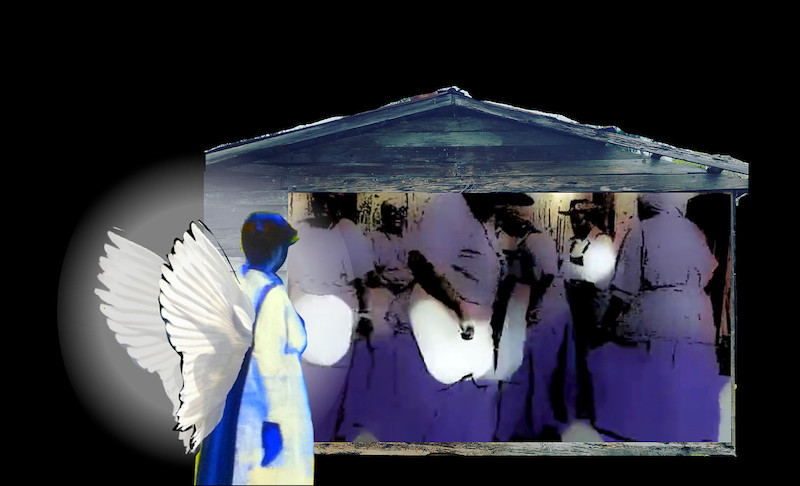 Image of a person wearing angle wings looking at a small hut with other people inside