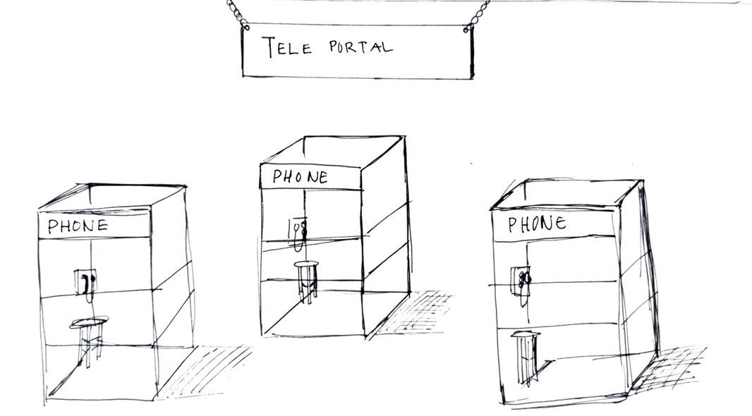 Sketch of teleportal art installation