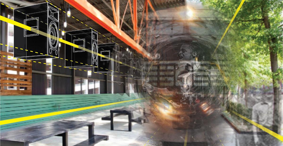 Image of train station art installation